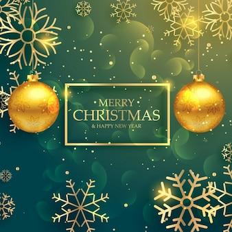 Стильные золотые рождественские шары на фоне роскошного стиля