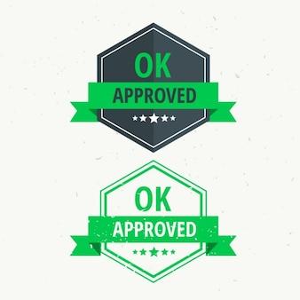 Утвержден резиновый штамп дизайн этикетки значок в зеленый цвет