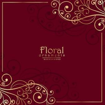 花の飾りと赤い背景