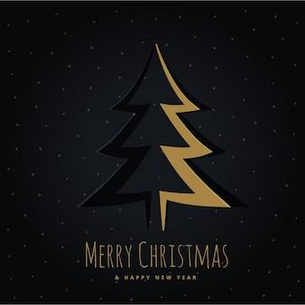 黒の背景に黄金のクリスマスツリー