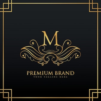 Элегантный золотой премиум бренд логотип концепция сделаны с цветочным стилем
