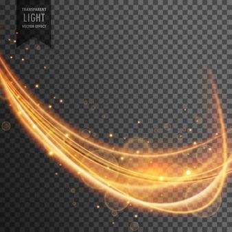 透明な背景上の輝きを持つダイナミックゴールド波