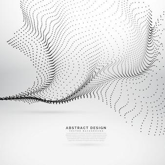 黒のドットで作られた抽象的な流れる波
