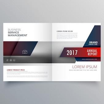 創造的なデザインとビジネス誌二つに折り畳めるパンフレットテンプレート
