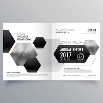黒の六角形の形状を持つ抽象二つに折り畳める雑誌のページデザイン