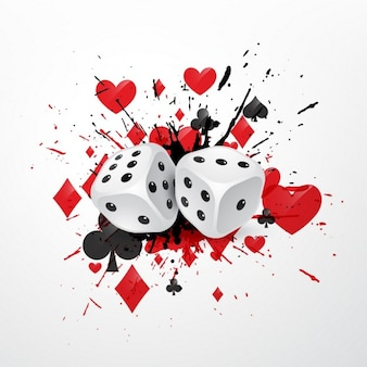 Абстрактный фон кости с символами плескаться и игральных карт