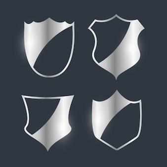 Серебряные значки эмблема дизайн набор