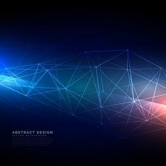 デジタルスタイルで抽象的な技術のワイヤーフレームメッシュ