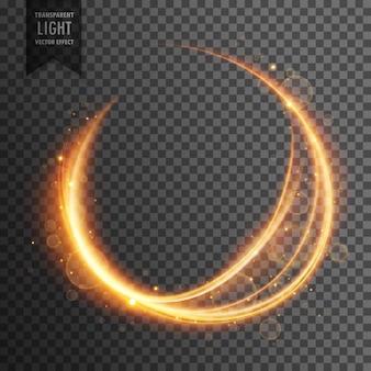 円形の金色のレンズは、透明な光の効果輝く背景をフレア