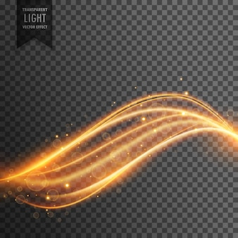 ネオン湾曲金色のラインと輝きを持つ抽象透明光効果