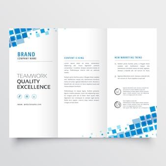 ブルーモザイク効果できれいつ折りパンフレットのテンプレートデザイン