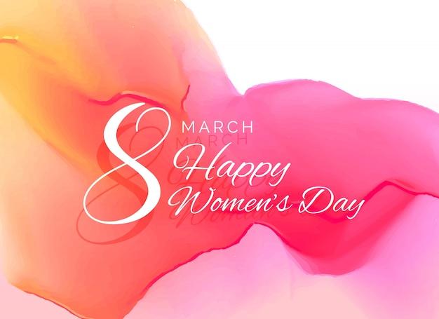Женщины день праздник дизайн открытки с эффектом акварели