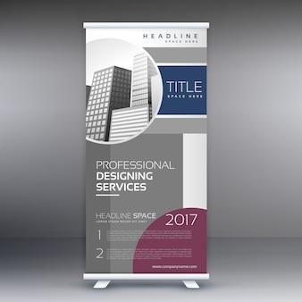 ビジネスプレゼンテーションのための専門のロールアップ立ち見客バナーデザインコンセプト
