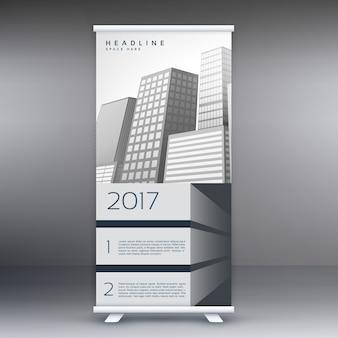 灰色の立ち見客は、マーケティングやプロモーションのバナーテンプレートのデザインコンセプトをロールアップ