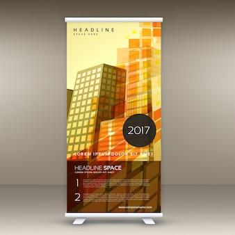 抽象的な黄色の立ち見客レトロなテーマでバナーのデザインをロールアップ
