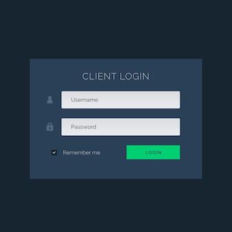 Темно-синий тема пользовательский интерфейс для формы входа