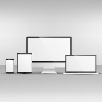 コンピュータラップトップ、スマートフォンやタブレットなどのデバイスのモックアップ