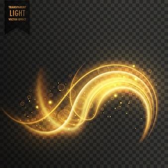 黄金のスワール透明の白色光の効果の背景