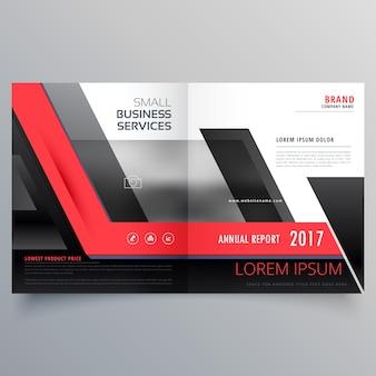 赤と黒の二つ折り創造パンフレットのデザインテンプレート