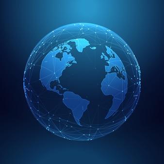 Цифровая технология планета земля внутри сети линий массива