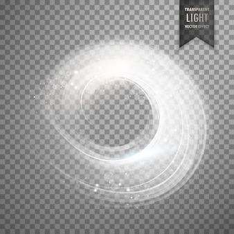 円形の透明な白色光効果背景