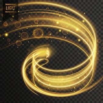 抽象的な黄金の透明な光の効果の背景