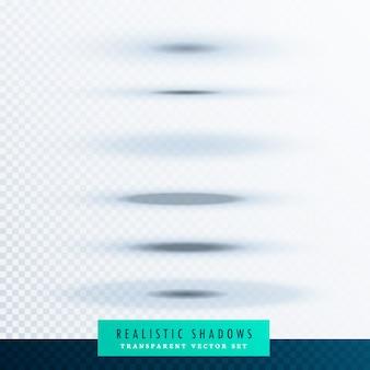 透明な背景に楕円形の紙の影の効果のセット