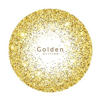 金色の輝きの円のフレームベクトルの背景