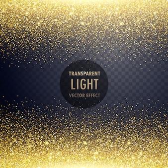 透明な金色の光り輝く光の効果の背景
