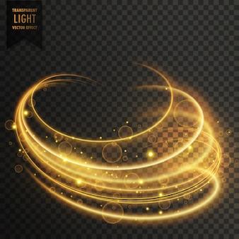輝きを伴う金色の曲線の透明な照明効果