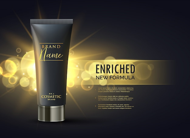 ダークゴールドのボケの背景でプレミアムブランドの化粧品の包装デザインコンセプト