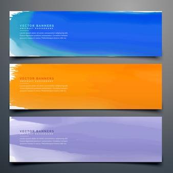 異なる色で設定された抽象的な水彩バナー