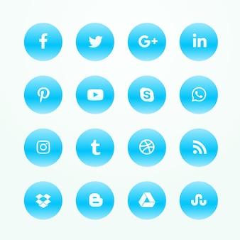 Синий социальной сети сми иконки набор