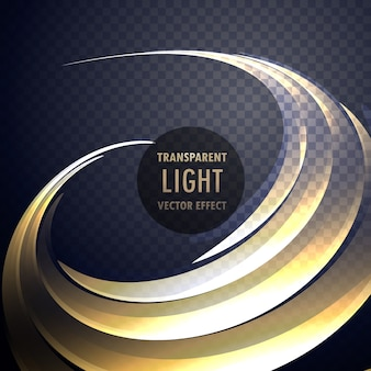 ネオンゴールドカーブの抽象的な透明なライト効果の渦巻き