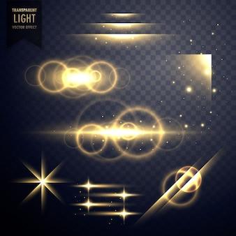 Прозрачный световой эффект и коллекция вспышек объектива