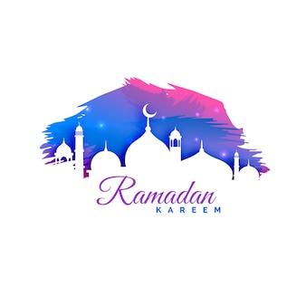 モスクのシルエットと水彩の背景を持つラマダンカレムの背景
