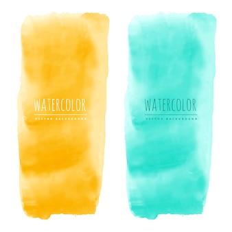 黄色と青の水彩の染みベクトルのバナー