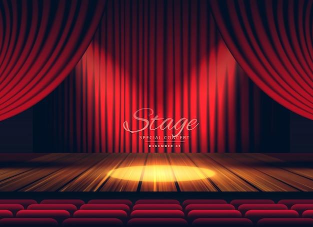 プレミアムレッドカーテンステージ劇場またはオペラの背景にスポットライト
