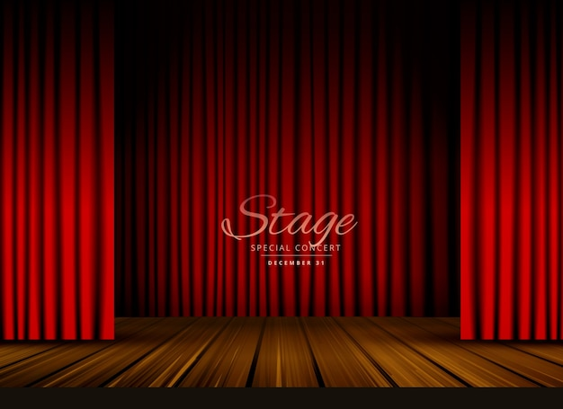 Открытый красный занавес театра театра или оперный фон с деревянным полом