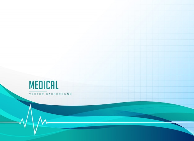 Медицинское здравоохранение или аптека фон с сердцем и волны