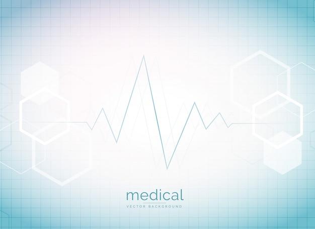 Абстрактный медицинский и медицинский фон с сердечным ритмом и молекулами гексагональной формы