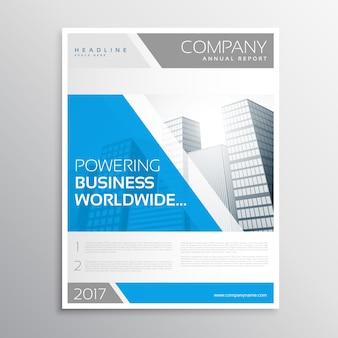 スタイリッシュな青とグレーのビジネスパンフレットのテンプレートデザイン