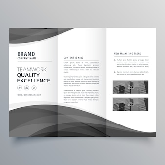 ブラックウェーブビジネストリフォールドパンフレットデザインテンプレート