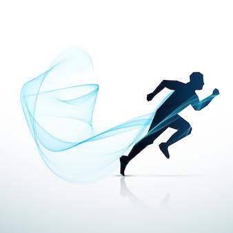 青く流れる波で走っている男