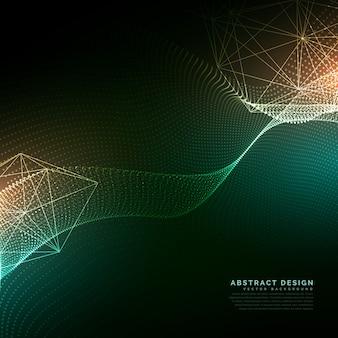 サイバーテクノロジースタイルの背景を流れるデジタル粒子