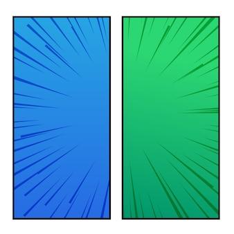青と緑のコミックスタイルのバナーデザイン