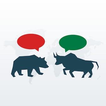 Бык и медведь с символом чата для фондового рынка