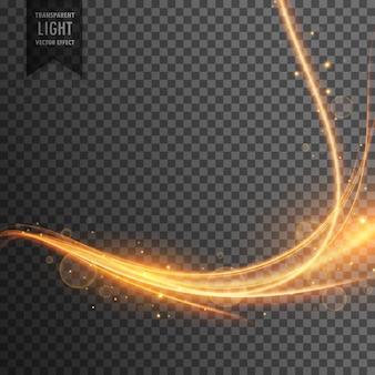 輝きを伴う透明な光のエフェクトトレイル