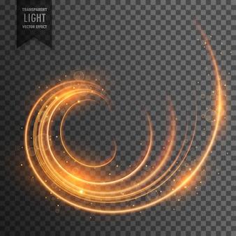 輝きのある背景を持つ透明な渦巻き光の効果