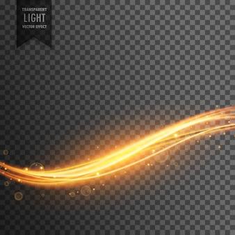 黄金の光ストリーク透明な効果の背景